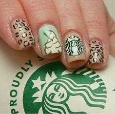 Starbucks nails, love the whipped cream nail :) Crazy Nail Art, Crazy Nails, Pretty Nail Art, Cute Nail Art, Cute Nails, Summer Acrylic Nails, Best Acrylic Nails, Acrylic Nail Designs, Nail Art Designs