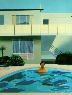"""David Hockney is a British artist, with a long career most firmly segmented into the Pop-Art category. This collection of work was inspired by his move to California in the Lawns, swimming pools, naked dudes. This one is entitled """"Nick Wilder,"""" 1966 David Hockney Pool, David Hockney Art, David Hockney Paintings, David Hockney Portraits, Cultura Pop, Andy Warhol, Illustration Arte, Pop Art Movement, Robert Rauschenberg"""