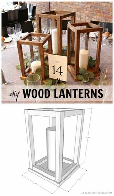 Make your own wedding table decor with beautiful DIY wood lantern centerpieces. Perfect for any event - holiday party, special celebration - and super easy to construct. crafts with wood DIY Wood Lantern Centerpieces - Jaime Costiglio Beginner Woodworking Projects, Diy Woodworking, Woodworking Furniture, Popular Woodworking, Sketchup Woodworking, Furniture Plans, System Furniture, Intarsia Woodworking, Woodworking Patterns