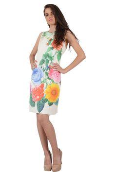 Φόρεμα με τύπωμα εμπρός και μονόχρωμη πλάτη σε ίσια γραμμή πάνω από το γόνατο αμάνικο