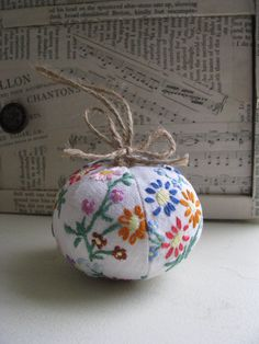 "I love this & was going to buy it! :( Snooze, ya lose. From Handmade & Heritage ""This Christmas decoration was made using a vintage embroidered table cloth."""