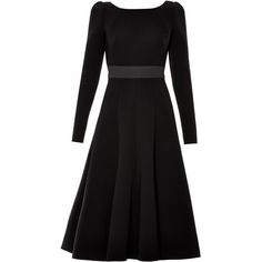 Dolce & Gabbana Open-back long-sleeved midi dress (9 930 PLN) ❤ liked on Polyvore featuring dresses, day dresses, vestido, black, black longsleeve dress, open back dress, long sleeve black dress, black midi dress y fit and flare dress