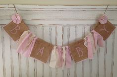 Baby girl, Shabby chic burlap baby banner, baby girl banner, baby, nursery decor, home decor, baby sign, baby announcement, rustic decor on Etsy, $20.99