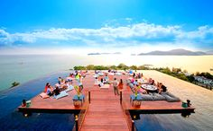The rooftop bar at SRI PANWA in Phuket, Thailand, appears to float on a wraparound infinity pool with knock-your-socks-off views over Phuket's Cape Panwa peninsula and the Andaman Sea. Phuket Thailand, Thailand Travel, Hotel Thailand, Phuket Hotels, Hotels And Resorts, Best Hotels, Villa Phuket, Photo Voyage, Best Rooftop Bars