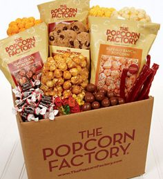 Whatever the reason, our Snack Boxes make the grade. The Jumbo Snack Box, as shown, is jam-packed with enough goodies to satisfy hungry roommates, with chocolate chip cookies, licorice, gummy bears, Tootsie Roll® Midgees®, malted milk balls, sour stars, mini pretzels, tortilla chips & salsa, honey roast peanuts, Jelly Belly® beans and loads of premium popcorn–Butter, Cheese, Caramel, White Cheddar, Buffalo Ranch, and more!