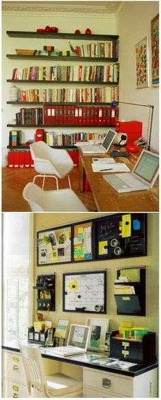 I like the lower pic better with the organization up on the wall!  And NOT on the desk!  And, upper pic, book shelves.