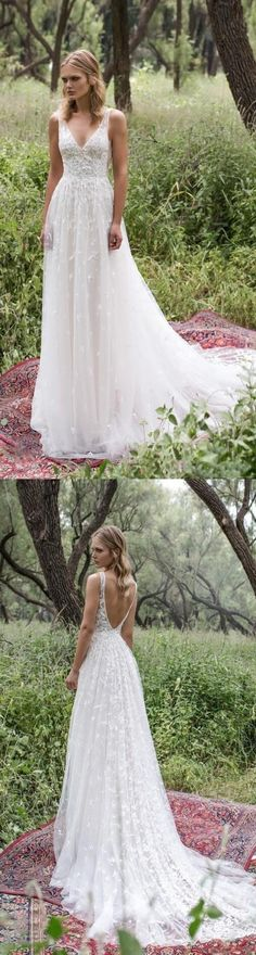 Long Lace V-Neck Vintage Country Bohemian Beach Simple Soft Wedding Dresses with. , Long Lace V-Neck Vintage Country Bohemian Beach Simple Soft Wedding Dresses with. Soft Wedding Dresses, Diy Wedding Dress, Applique Wedding Dress, Country Wedding Dresses, Bohemian Wedding Dresses, Boho Dress, Wedding Gowns, Trendy Wedding, Wedding Beach