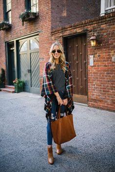 Plaid Blanket Cape & Leather Accessories