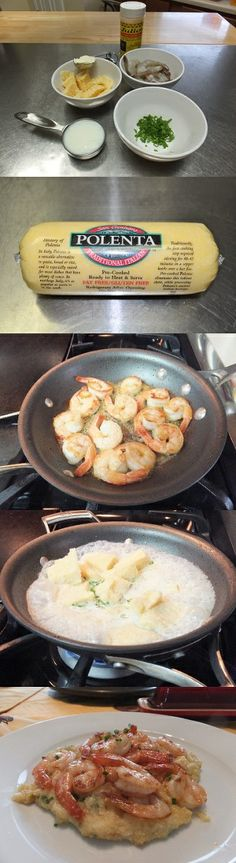 Perfect Pan Seared Shrimp and Polenta Recipe. I Made This For Dinner Last Night & It Was Perfect! Very Simple Pan Fried Seafood Recipe.