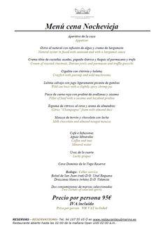 #Menu #Nochevieja del #restaurante Submarino #Oceanogràfic #Valencia