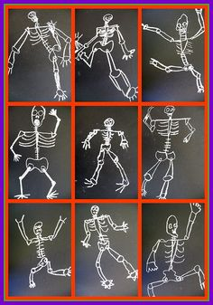grade lotsa bones *Halloween or Day of the Dead project-late October* Halloween Art Projects, Fall Art Projects, Halloween Ideas, Halloween Banner, First Grade Art, 2nd Grade Art, Grade 3, 3d Chalk Art, Middle School Art