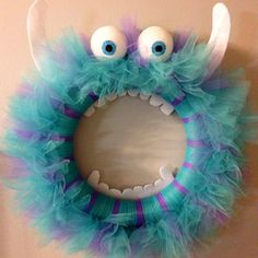 Sulley Monsters Inc. Tulle Wreath - He came out so cute! :)