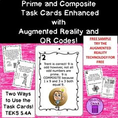 THIS IS A FREE SAMPLE OF A FULL PAID VERSION OF MY PRIME AND COMPOSITE TASK CARDS! These amazing, technology enhanced task cards are designed to help your students review, enrich and practice math content while integrating technology! These task cards focus on TEKS 5.4A- Identify Prime and Composite Numbers 4th Grade Classroom, 5th Grade Math, Fourth Grade, Math 5, Math Test, Prime And Composite Numbers, Prime Numbers, Math Resources, Math Activities