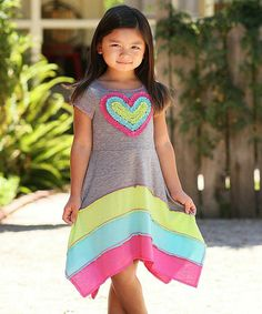 Look what I found on #zulily! Heather Gray & Pink Color Block Heart Dress - Girls by Freckles + Kitty #zulilyfinds