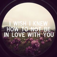 I wish I knew how to not be in love with you.