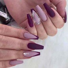 Light and Dark Purple Nail Art with Crystals Nails 41 Elegant Nail Designs with Rhinestones Dark Purple Nails, Plum Nails, Purple Nail Art, Burgundy Nails, Purple Hair, Dark Color Nails, Gold Nail Art, Burgundy Nail Designs, Elegant Nail Designs