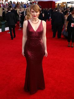 """Bryce Dallas Howard, nominated for outstanding performance by a female actor in a television, movie, or miniseries for """"Black Mirror,"""" wearing a gown by Dress the Population."""