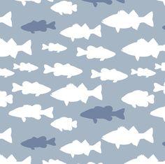 fish // blue fabric by littlearrowdesign on Spoonflower - custom fabric