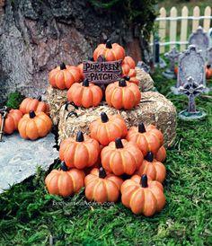 Set of 3 Halloween Fairy Garden Pumpkins by TheEnchantedAcorn