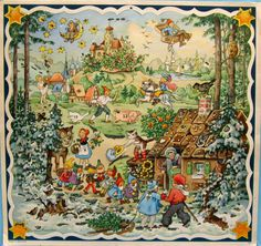 vintage German Advent calendar with fairy tale themes.  Illus. by Kurt Brandes (1905-1977). No publisher listed.