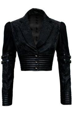 Bolero Jacket in Royal Black Brocade