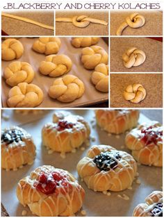 Never seen kolaches made like this. - Blackberry and Cherry Kolaches - Similar to a Danish, Kolaches have a dollop of fruit filling in the middle, but with a softer, fluffier, more roll like dough. Pastry Recipes, Baking Recipes, Dessert Recipes, Kolache Recipe Czech, Bread Shaping, Delicious Desserts, Yummy Food, Czech Recipes, Pastries