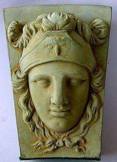"""Vintage Cast Concrete Architectural Element - """"Athena/Minerva"""" High Relief Sculpture - 10"""" h x 7.25"""" w x 5.5"""" depth"""