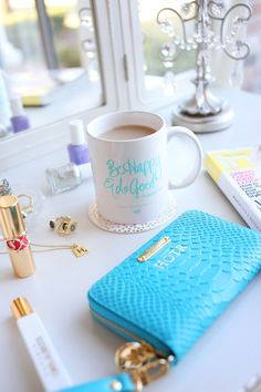 Coffee Talk with Haute off the Rack! // Be Happy & Do Good mug available now in the Online Shop! // vanity styling | image by: Kaela Rodehorst Photography #ispyABD
