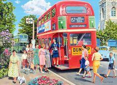 Trevor Mitchell The Bus Conductress Canvas Art - x 26 Ravensburger Puzzle, Artist Canvas, Canvas Art, Artist Art, Nostalgic Art, Routemaster, London Transport, Road Transport, Red Bus