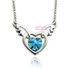 Angels heart - Crystal necklace - Ocean - AHN4 | ChibiBunnysFavorites - Accessories on ArtFire