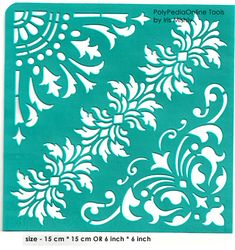 "Stencil Stencils Pattern Template ""Flower Corners"" 6 inch/15 cm, reusable, adhesive, flexible, for polymer clay, fabric, wood, glass, cards"