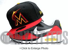 Miami Marlins Jet Black Scarlet Solar Flare Yellow New Era Fitted Hat UP NOW ON MYFITTEDS.COM