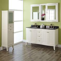 """60"""" Palmetto White Double Vanity - Black Granite Top, Linen and Medicine Cabinet"""