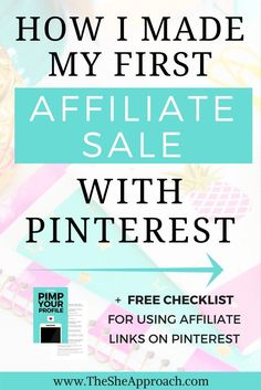 Are you a blogger or social media enthusiast looking for ways to earn some extra income while doing what you do best?   Here is how I made my first affiliate sale with Pinterest and you can too! Earn passive income, learn my affiliate marketing tips and m