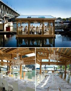 This lovely little floating dining room made by the School of Fish Foundation is held aloft by 1,672 plastic bottles. Made of reclaimed pinewood, the dining room serves an elegant six-course sustainable seafood menu catered by C Restaurant