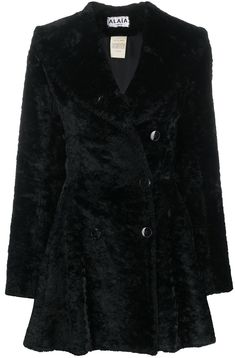 Alaïa Pre-Owned textured ruffled coat - Black Fitted Skirt, Skirt Suit, Flare Skirt, Flare Dress, Tube Skirt, Double Breasted Coat, Alaia, Black Cotton, Striped Dress