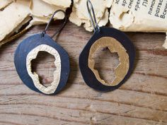 Black and gold round earrings - hand crafted copper earrings with gold leaf - modern rustic jewelry - 925 silver ear wires