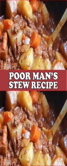 YOULL NEED: 1 Pound ground beef browned and drained. 1 Garlic clove minced (I had this on hand already). 1 Ounces) can tomato paste. Poor Man Stew Recipe, Poor Man Soup, Stew Meat Recipes, Crockpot Recipes, Cooking Recipes, Crowd Recipes, Cooking Fish, Cooking Bacon, Healthy Recipes