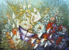 Butterflies - Hand Painted Modern Knife Oil Painting on Canvas Reproduction - Free Shipping #01769 - $43.90 - Rock Wall Art - Buy Popular Hand Painted Oil Painting Artworks from Place of Origin , Save More
