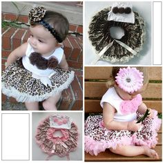 Baby 2Pcs Outfits Girl Kids Flowers Top+Skirt Set Leopard Tutu Dress 1-4 Years XL039 Free Shipping