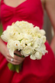 Bridesmaid bouquet, classic white for spring with tulips, calla lillies, fressia, ranuncula