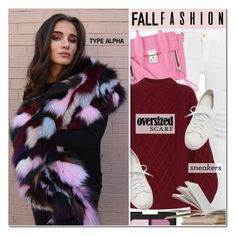 """""""Patchwork Fox Oversized Scarf & Sneaker style"""" by typealpha ❤ liked on Polyvore featuring Frame, NARS Cosmetics, 3.1 Phillip Lim, Victoria Beckham and Santoni"""