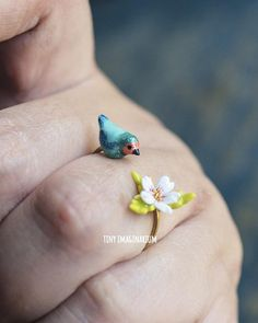 Bird sakura ring, flower ring, floral jewelry, bird jewelry, sakura ring, bird lovers, botanical ring, celebrate spring, finch bird