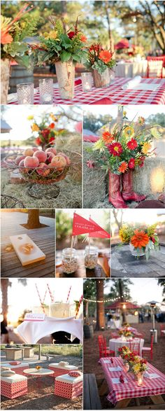 rustic picnic outdoor wedding red white check gingham Outdoor Decoration Ideas for Rustic Weddings |