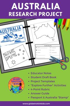 Kids are the explorers as they research the geography and culture of Australia. Our kid-friendly website makes the perfect companion to this guided research project, providing a detailed map, country infographic, photographs, videos, and more. Interactive templates are created for a final presentation with an individual touch! Great artifact and keepsake for elementary students. #Australia #AustraliaResearchProject #Geography #projectsforkids #learningprojects #homeschool #distancelearning Cooperative Learning Groups, Learning Centers, Research Skills, Research Projects, Australia For Kids, Interactive Presentation, Country Maps, Communication Skills, Interactive Notebooks
