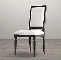 Vintage French Square Fabric Side Chair in Black Oak Drifted | RH