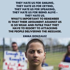 #NeverAgain She's not wearing an ear piece. Her words are from her heart.