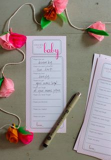 wishes for baby- can also make something like this for advice for mommy to be