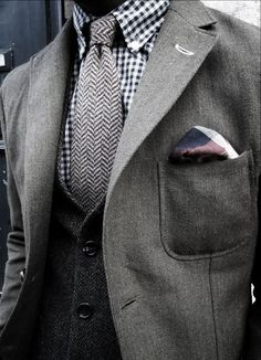 Twill weave jacket, herring bone vest and tie, gingham shirt, plaid pocket square