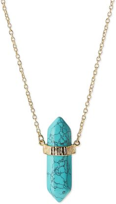 Jules Smith Long Resin Pendant Necklace, Turquoise  -love the band and double ends